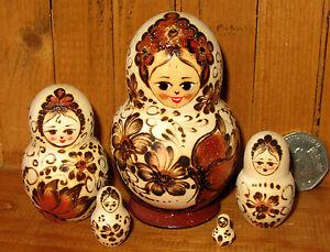 MATRYOSHKA Nesting Russian dolls small 5 Pyrography Butterfly Flowers signed ART