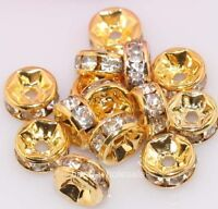 100pcs Shiny Golden Clear Crystal Rhinestone Charms Rondelle Spacer Beads 6mm