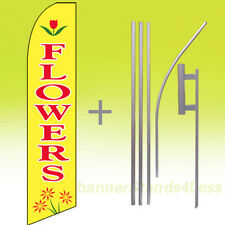 Flowers Swooper Flag Kit Feather Flutter Banner Sign 15' Tall - yb