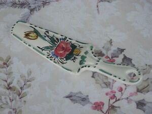 """Vintage 9 1/2"""" 1960's Italian Hand Painted Porcelain Large Cake Server Awesome"""