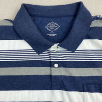 St John's Bay Polo Shirt Mens 2XL Blue White Gray Short Sleeve Striped Casual