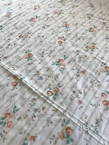 Vintage Floral Striped Flowers Twin Flat Sheet JC Penney Fabric Craft 93X70""