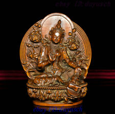 Tibet Buddhism Boxwood Wood Carving Green Tara GuanYin Goddess Buddha Statue