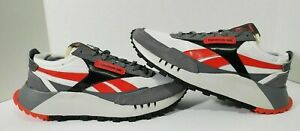 Reebok CL Legacy Leather Gray Red White Black Shoes Men's Size 7 FY9115