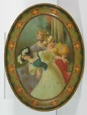 ca1905 THREE WOMEN RARE TIN LITHOGRAPH OVAL ADVERTISING TRAY By CHARLES SHONK