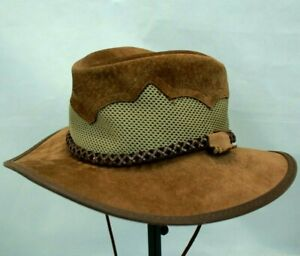MONTEREY BAY HAT COMPANY SIROCCO BROWN LEATHER AIR CONDITION HAT SIZE 7 MED VGC!