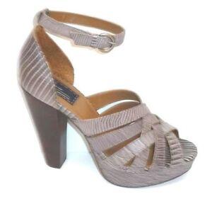 "BERTIE 70s retro grey leather high 4"" heel dressy peep court shoes EUR 40 UK 6.5"