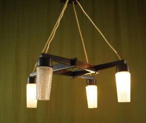 Vintage Ceiling Light Lamp Wood Glass Chandelier Hanging Lamp 70er