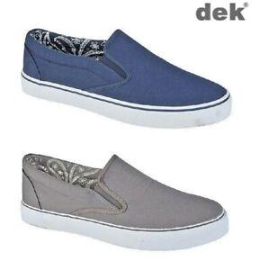 Mens Canvas Boat Yachting Deck Shoes Slip On Pumps DEK Blue Grey Size 6-12