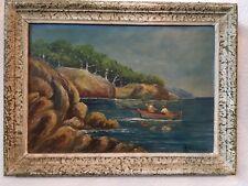 R Mermoz tableau huile sur panneau marine mer Cote d'azur bateau pecheur 1950