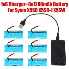 6 Pieces 3.7V 1200mAh Lipo Battery with 6 in 1 Charger For Syma X5SC-1 X5SW X5SC