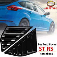 2PCS Fit For Ford Focus ST RS MK3 Hatchback Gloss Black Window Side Louvers
