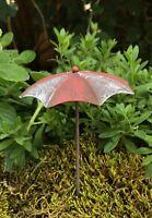 Miniature FAIRY GARDEN Accessories ~ Mini Rustic Red & White Beach Umbrella NEW