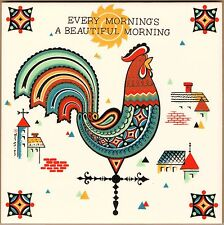"Swedish Trivet Tile ""Every Morning's A Beautiful Morning"" 6"" X 6"" Cork Backing"