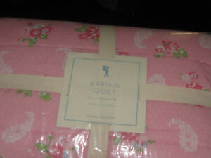 NEW Pottery Barn Kids TWIN Karina Block Print Reversible PINK Floral Quilt