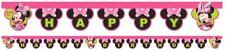 """Ragazzi Ragazze Festa Di Compleanno Minnie Mouse a Tema """"Happy Birthday"""" LETTERE Banner"""