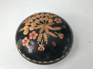 Vintage Trinket Box Straw Inlay Marquetry Russian Folk Art Black Lacquer Lidded