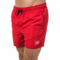 Mens Jack & Jones Malibu Logo Swim Shorts In Red- Ribbed Waistband- External