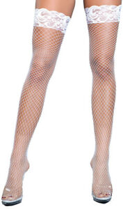 Fence Net Thigh Highs Stay Up Lace Top Silicone Fishnet Stockings Hosiery 1916