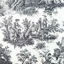 """Waverly """"Country Life"""" Toile Upholstery Fabric 56 x 62 - Vintage Decor Remnant"""