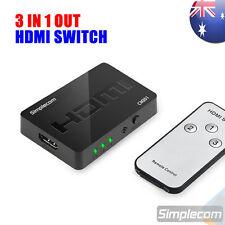 simplecom 3 port hdmi switch hub with remote control splitter box full hd