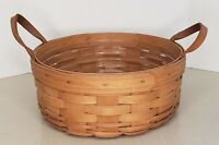 "Vintage 1996 Longaberger 10"" Round Signed Basket With Leather Handles"
