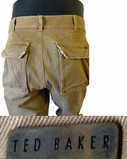 TED Baker khaki chino distressed 34 l millitary style destroyed beige casual