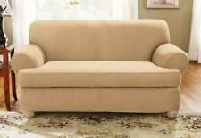 sure fit Suede Two Piece T-Sofa Slipcover camel