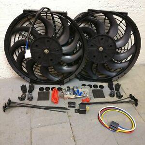 """1958-88 AMC 16"""" Dual Adj Temp 3000CFM S-Blade Cooling Fan Kit v6 nash 390 i6 352"""