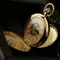 Men Pocket Skeleton Watch Mechanical Gold Double Hunter Hand-winding Chain Retro