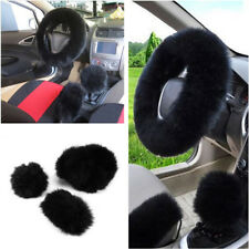3pcs Black Long Plush Wool Warm Steering Wheel Cover Woolen Car Grips Accessory