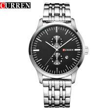 Gents Luxury Curren Black Face Date Silver Stainless Steel Bracelet Watch