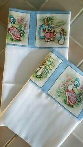 Handmade White Cotton Mix Striped Baby Crib/MB Sheet- Beatrix Potter Top Edge.