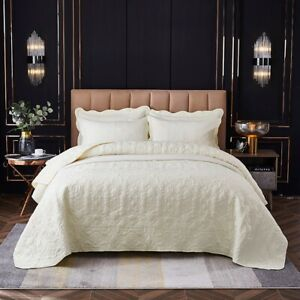 Washed Cotton Patchwork Cream Bedspread Quilted Coverlet 240X250cm Bedding AU