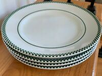 "Wiliams-Sonoma BRASSERIE GREEN 9"" Checkered Rim Luncheon Plates Set(s) of 4"