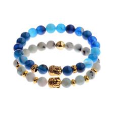2Pcs/Set Couples Bracelet 8MM Natural Stone Buddha Beaded Bracelets Jewelry