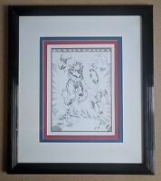 Jack Kirby Captain America Black and White 50th Birthday Commemorative Framed