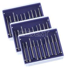3 Kits Dental Carbide Tungsten Steel Burs Drill High Speed Pear Shaped Fg330