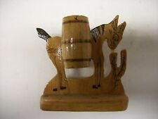 Vintage Folk Art Wooden Donkey Tooth Pick Holder