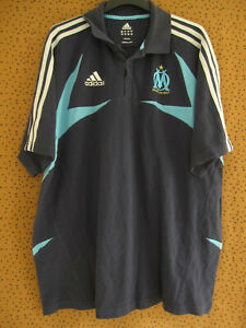 Polo Adidas Olympique Marseille Marine OM maillot vintage Coton Jersey - L