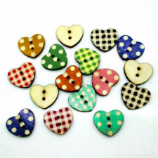 Popular 50PCs Wooden Cute Heart Pattern Decorative Buttons 2 Holes Sewing Craft