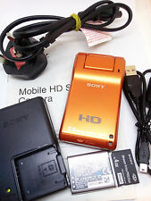 Sony MHS-PM1 Pocket Digital Camera Video Camcorder Mobile HD Snap Webbie Orange