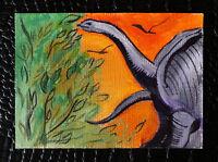"Original art by Bastet ""Dinosaur"" OOAK hand painted ACEO"