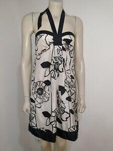 Tokito Black White Pure Silk Baby Doll Empire Waist Halter Mini Dress Size 8