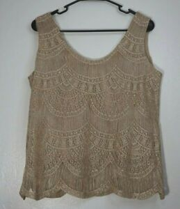 VTG Damianou Evening Tank Top Skirt 2 pc Wedding Gold White Women's Medium