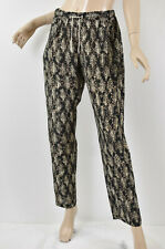 AMS PURE Aldo Martin Viscose & Silk Leaf Printed Tapered Drawstring Pants M 10