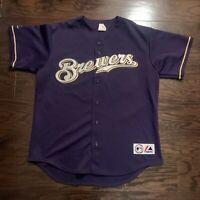 Milwaukee Brewers #45 Carlos Lee MLB Baseball Jersey Mens Sz Large Blue Majestic