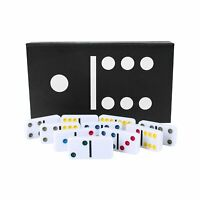 Deluxe Double Six Dominoes Family Fun Game Set - Vibrant Coloured Dots on Tiles