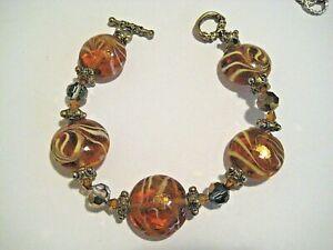 "Vintage Pink w Gold Large Art Glass Bead Bracelet w. Crystal, Metal Spacers. 8"""