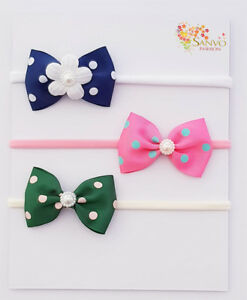 3 x Headband Baby Girl Newborn Toddler Nylon HairBand For JoJo Wiggle Bow Lovers